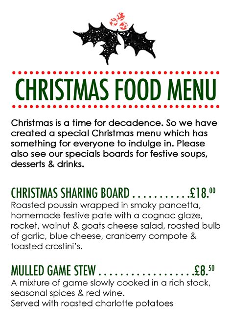 christmas food menu 2014