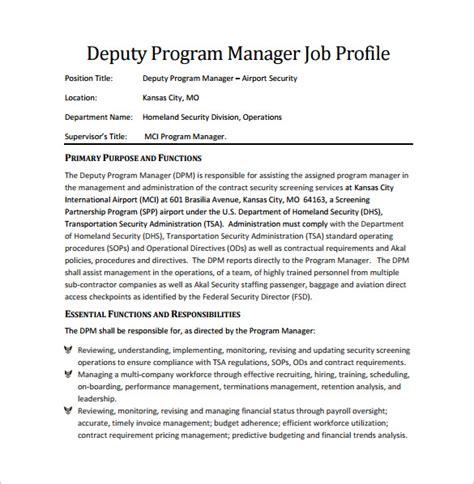 11 program manager description templates free sle exle format free