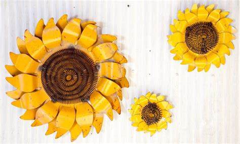 rustic hanging tin sunflowers sm tin wall decor metal flower 3 sizes available ebay