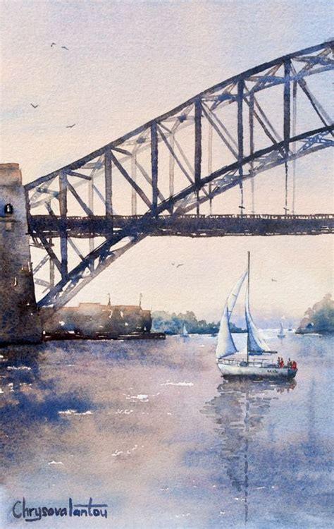 sydney harbour  sunset watercolour painting watercolors
