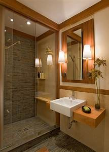 Ceramic tile shower bathroom craftsman with asian bamboo for Bamboo in the bathroom