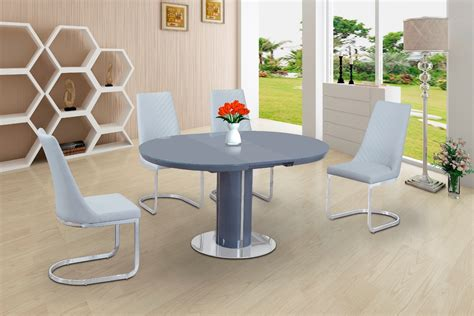 grey glass high gloss dining table   white chairs