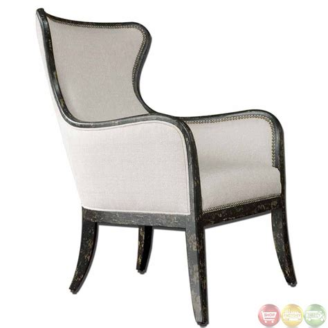 traditional wing back exposed wood frame linen chair