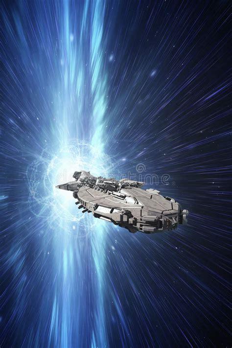spaceship   speed  light stock illustration