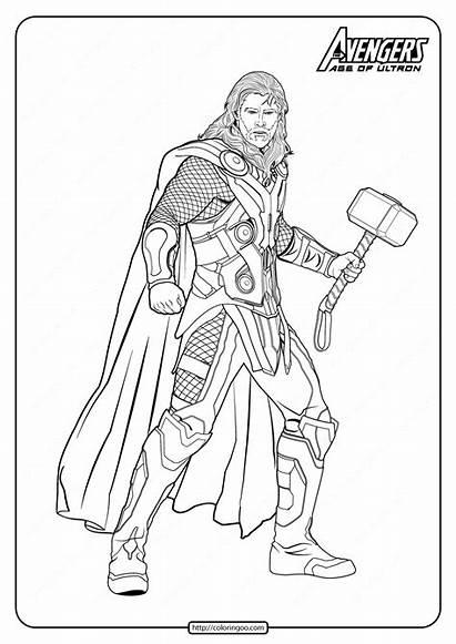 Marvel Coloring Thor Avengers Pdf Drawing Superhero