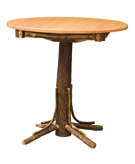 log table and chairs hickory log round pub table amish direct furniture