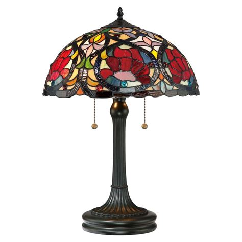 larissa red rose stained glass tiffany table lamp ideaslighting skuil