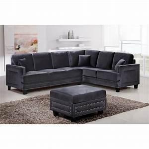 Gray nailhead sofa gray sofa with nailhead trim velvet for Sectional sofas with nailhead trim