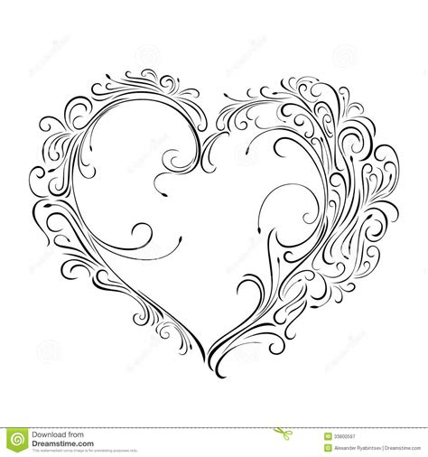 beautiful greeting floral heart stock illustration