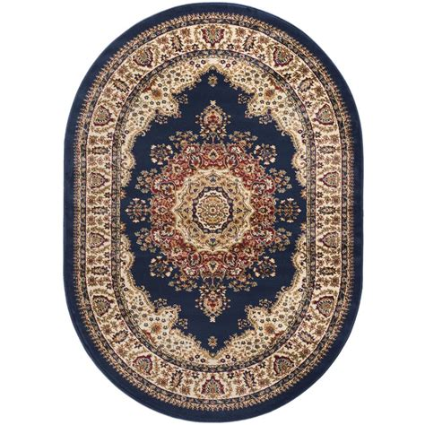 Blue Oval Rug by Tayse Rugs Sensation Navy Blue 5 Ft X 7 Ft Traditional