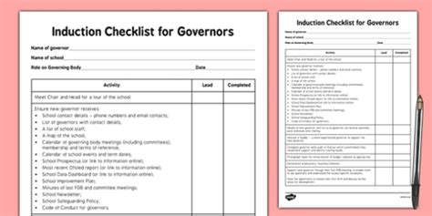 induction checklist  governors induction checklist