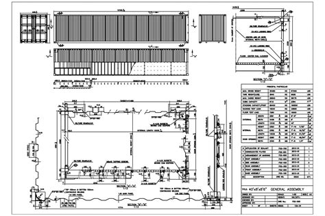 40gp technical drawing shipping container dimensions