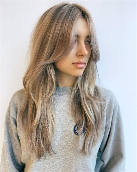 Textured Layers with Long Bangs in 2020 Hair styles