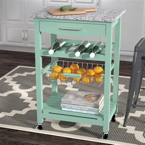 winston porter macy kitchen cart  granite top