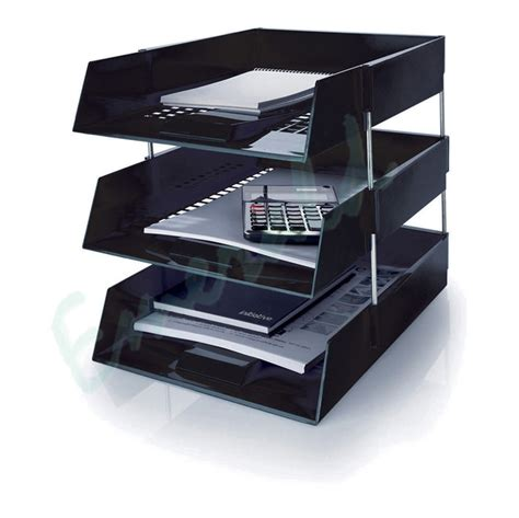 l desk 3 x letter filing trays in out risers complete set