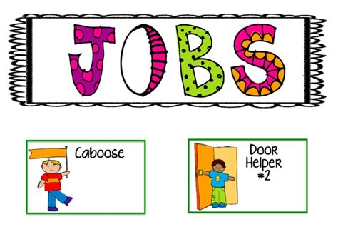 preschool helper jobs door clipart preschool chart pencil and in color 635