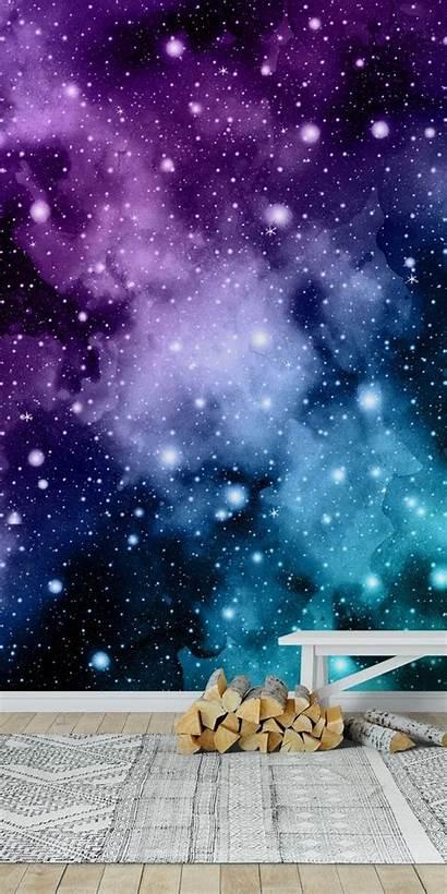 Teal Galaxy Purple Nebula Space Happywall Mural