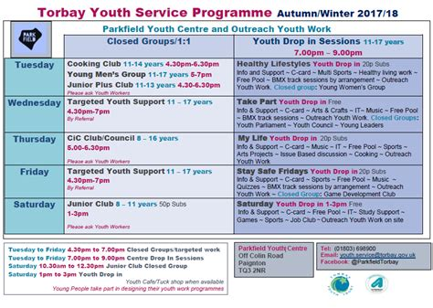 parkfield autumnwinter schedule sendiass torbay
