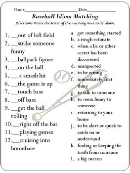 idiom concentration baseball edition by just peachy teaching tpt