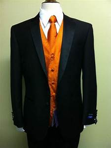 MENS BLACK TUXEDO W/ ORANGE PAISLEY VEST, FREE SHIRT ...