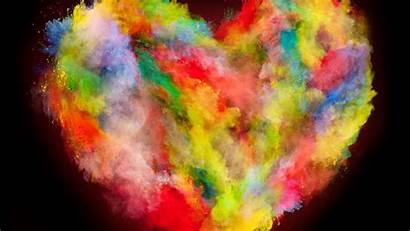 Explosion Colorful Heart Background Desktop