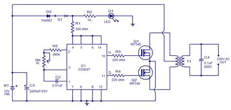 simple circuit schematic 100w inverter using ic cd4047 and mosfet irf540 eltronicschool