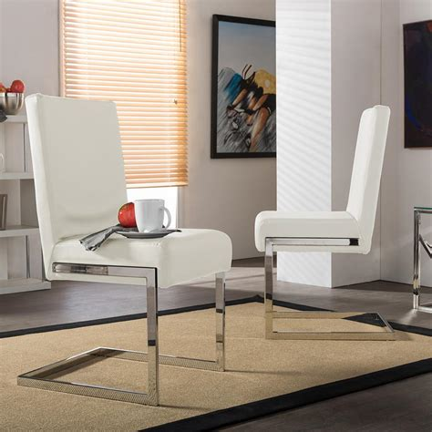 baxton studio toulan white faux leather upholstered dining