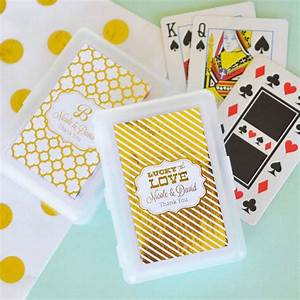 playing card wedding favors in personalized white plastic case With wedding favor playing cards