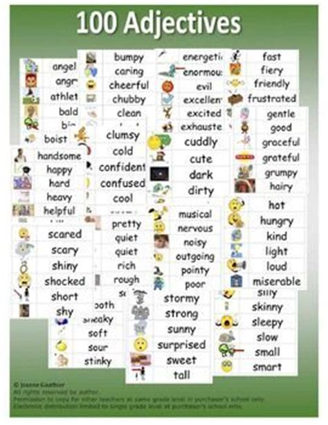this file contains 100 illustrated adjectives in a word
