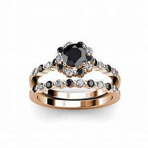 halo bridal set ring black and white diamond four prong With black and white wedding ring sets