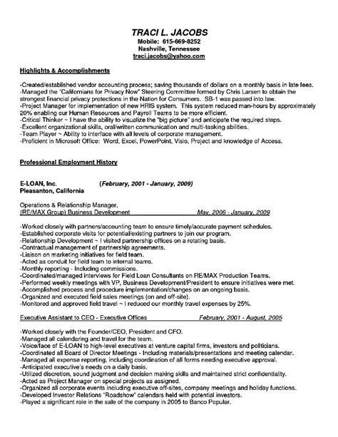 c level executive assistant resume sle resume sle