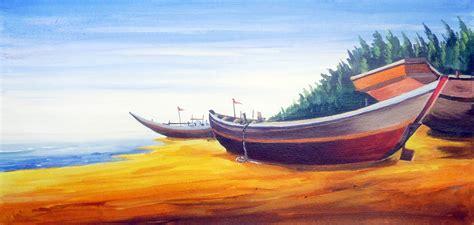 Modern Fishing Boat In India by Buy Painting Fishing Boats At Morning Seashore Artwork No