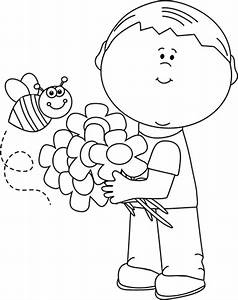 Black and White Spring Boy Clip Art - Black and White ...