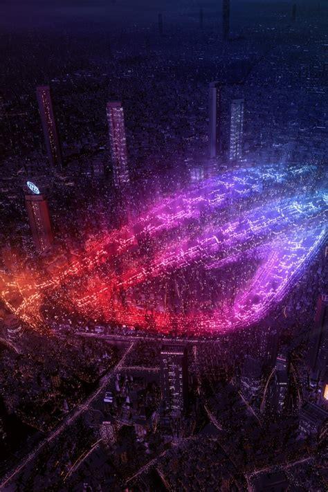 wallpaper asus rog republic  gamers city lights