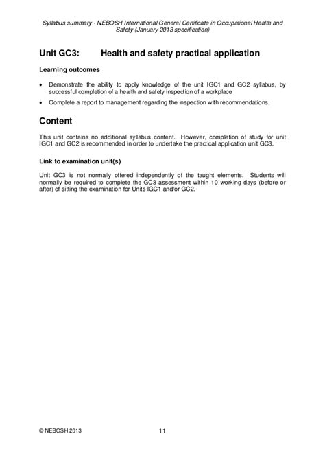 NEBOSH -INTERNATIONAL GENERAL CERTIFICATE IN OCCUPATIONAL