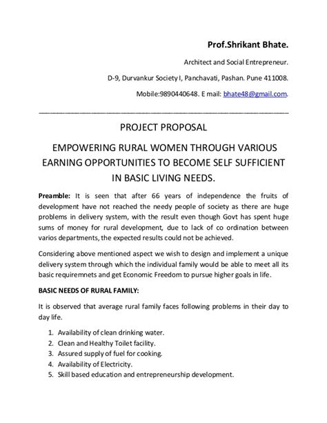project proposal  empower rural families