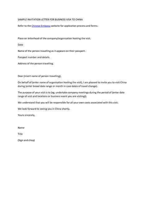 Sample Invitation Letter For Business Visa   Chainimage