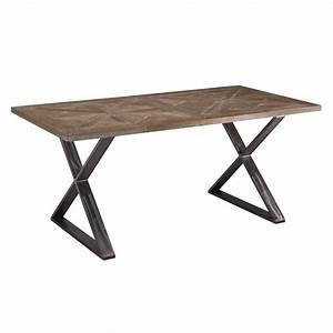 Tavolo fisso industriale con gambe ad X in ferro e piano in legno intarsiato