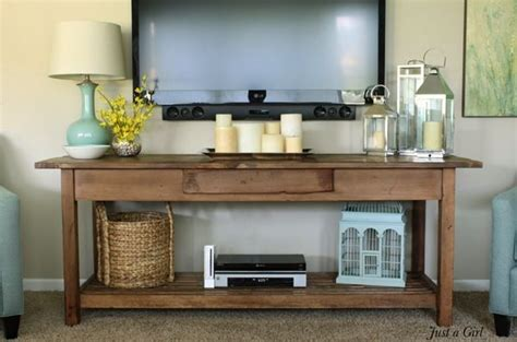 Decorating Ideas Tv Consoles by Rustic Console Table For Wall Mounted Tv The Dvd
