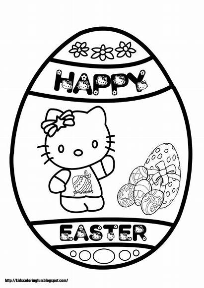 Easter Coloring Kitty Hello Pages Happy Sheets