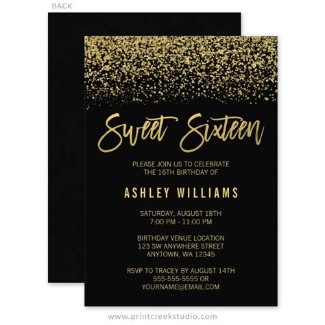 Modern Black Faux Gold Glitter Sweet 16 Invitations