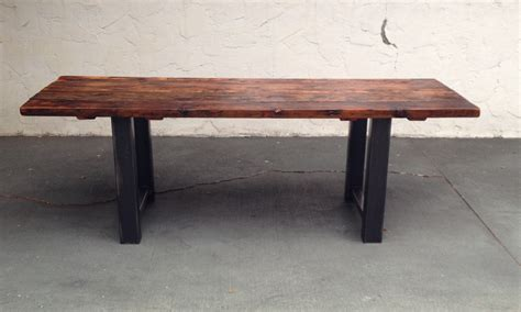 reclaimed wood and metal dining table 14