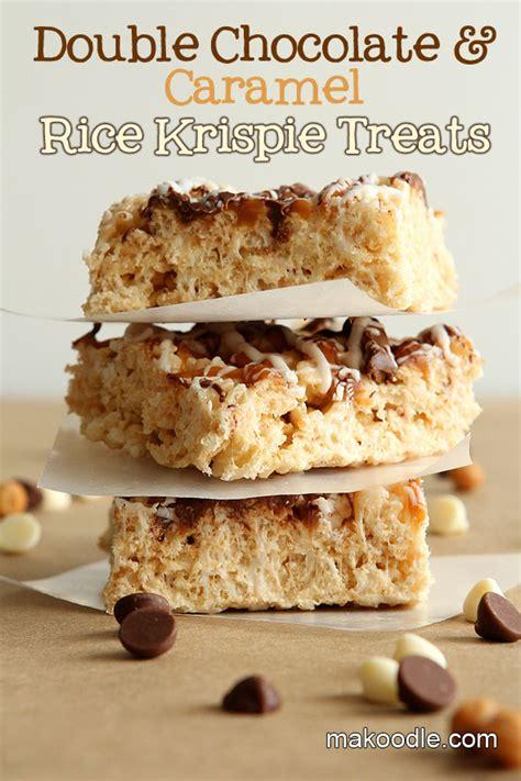 gourmet rice krispie treats double chocolate caramel rice krispie treats makoodle