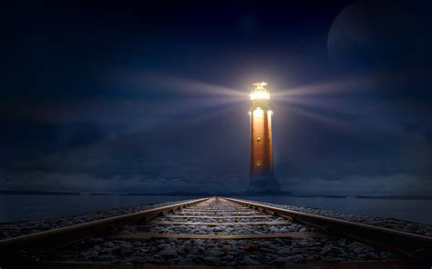 wallpaper lighthouse railroad dark night hd