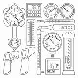 Barometer Outline Vector Thermometer Icon Thermostat Isolated Illustrations Vectors sketch template