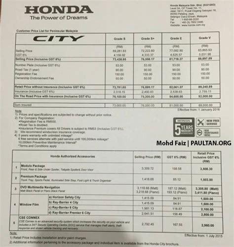 honda city pricing increased  january