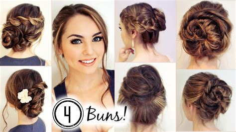 NO HEAT HAIRSTYLES! 4 Unique Messy Buns   Jackie Wyers