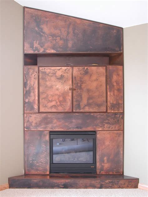 copper fireplaces patinated copper patinated steel fireplace hearth