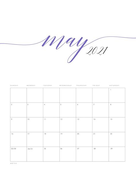 printable  minimalist color calendar