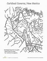 Coloring National Park Caverns Parks Carlsbad Worksheets Worksheet Pages Education Cavern Yellowstone Sheets Mexico Printables Mountains Geography Canyon Grand Animals sketch template
